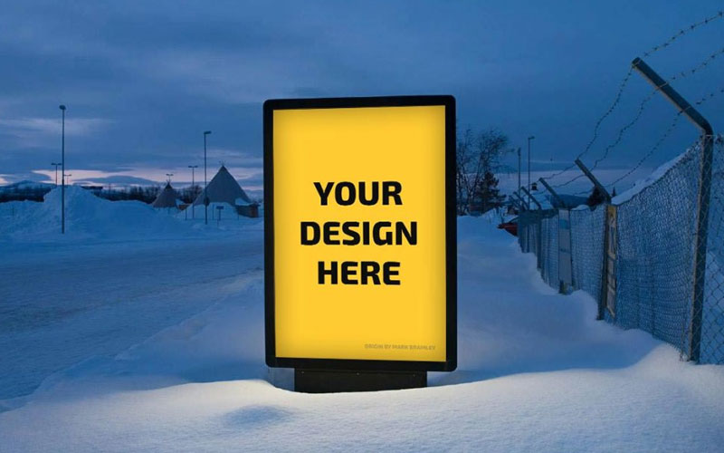 Billboard-Display-in-Snow-Mockup
