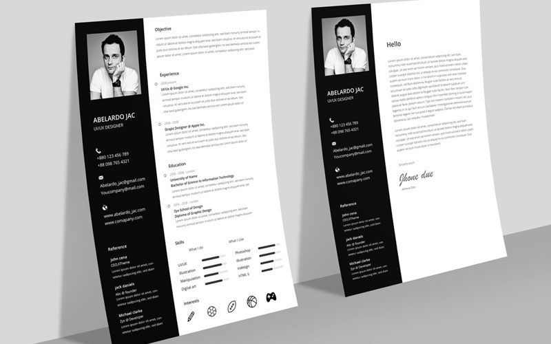 Classy-Black-&-White-Resume-(CV)-Template-With-Cover-Letter-Free-PSD-File