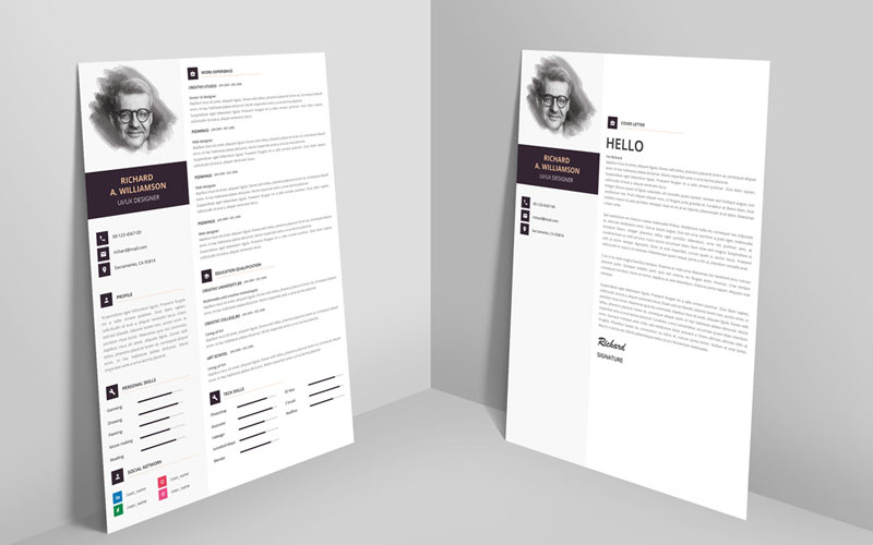 Creative-Professional-Resume-(CV)-Design-Template-With-Cover-Letter-PSD-File