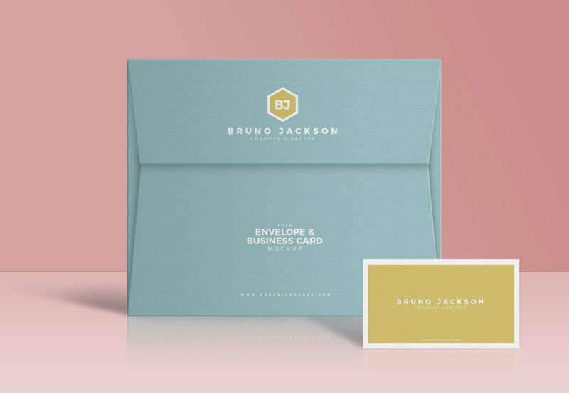 Envelope-with-Business-Card-Mockup