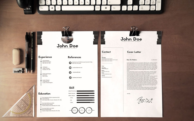 Free-Black-&-White-Minimalistic-Resume-(CV)-Design-Ai-File