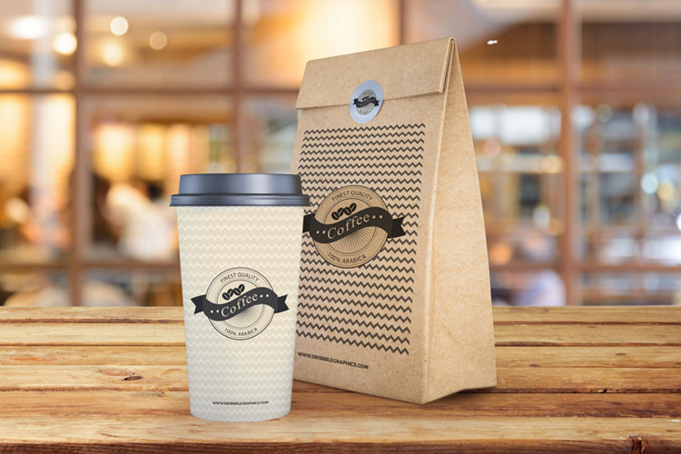 Free-Coffee-Cup-With-Paper-Bag-Packaging-Mockup-PSD