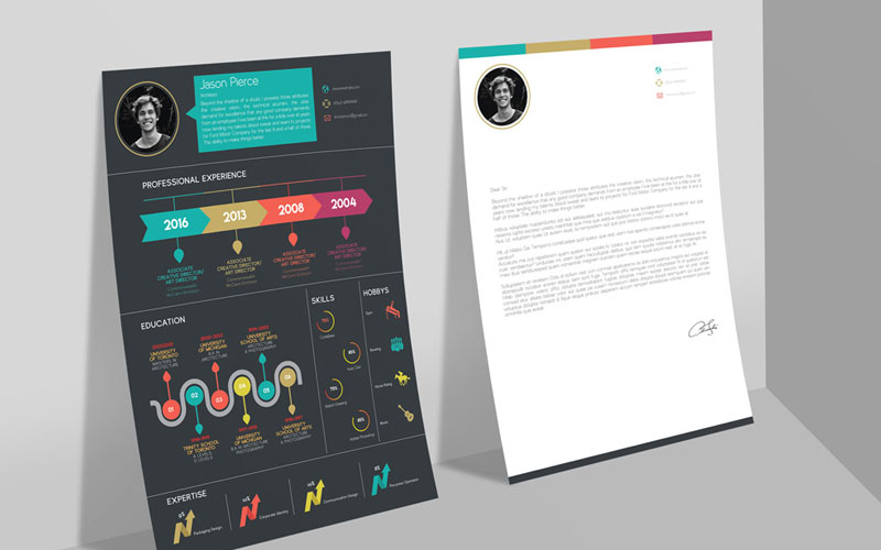 Free-Creative-Infographic-Resume-Template-With-Cover-Letter-INDD-File