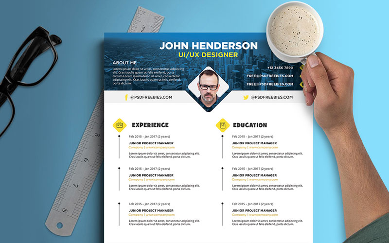 Free-Creative-Resume-(CV)-Design-Template-For-UI-UX-Designer-PSD-File