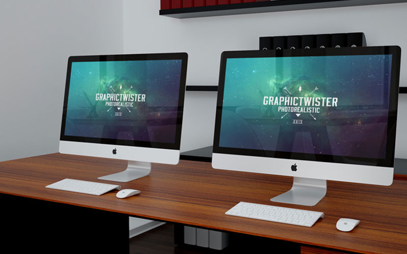 Free-Double-iMacs-on-Desk-Mockup