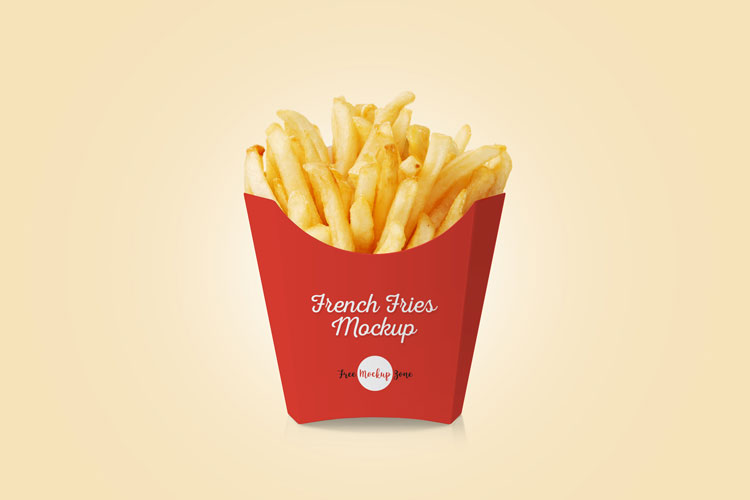50 free food and beverages psd mockups for designers for French fries packaging template