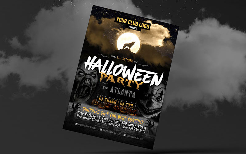 Free-Halloween-Party-Costume-Flyer-Design-Template