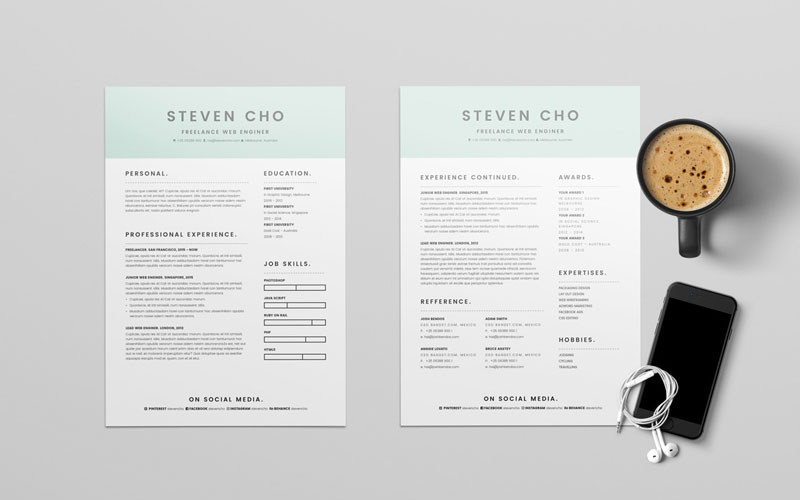 Free-Minimalist-Resume-(CV)-Design-Template-With-Cover-Letter-In-DOC-&-InDesign