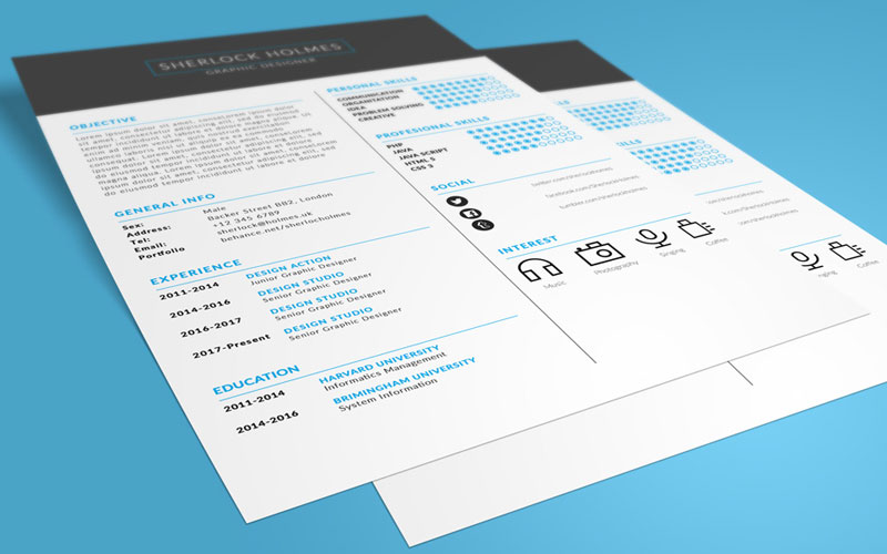 Free-Multipurpose-Resume-(CV)-Design-Template-PSD-File