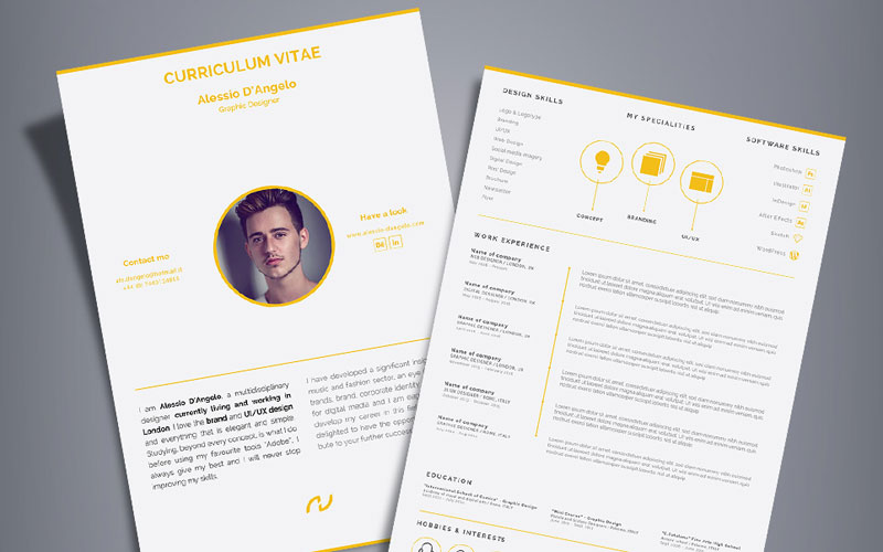 Free-Professional-2-Page-Resume-Design-(CV)-Template-Ai-File