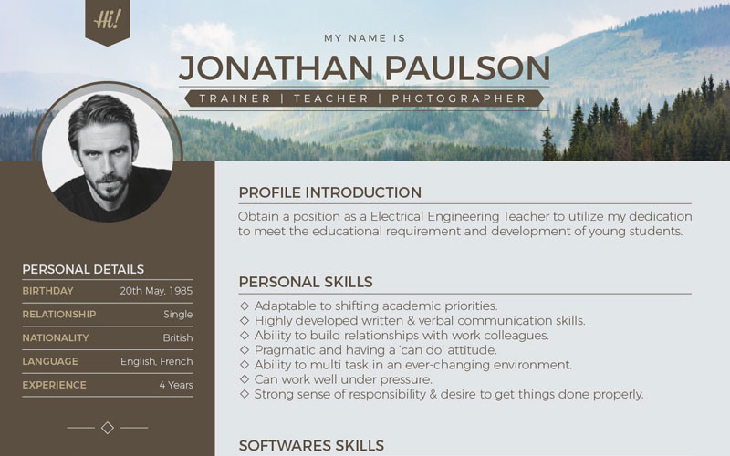 Free-Professional-Modern-Resume-(CV),-Portfolio-Page-&-Cover-Letter-Design-Template