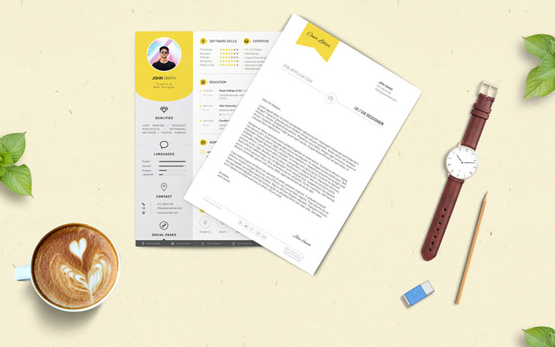 Free-Professional-Resume-(CV)-Design-Template-With-Cover-Letter-PSD-Files