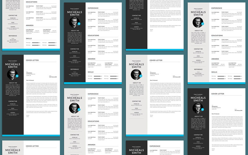 Free-Professional-Resume-(CV)-Design-With-Cover-Letter-Available-in-2-Colors-PSD-File