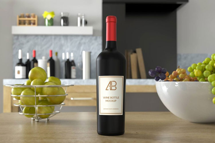 Free-Red-and-White-Wine-Bottle-on-Kitchen-Table-Mockup