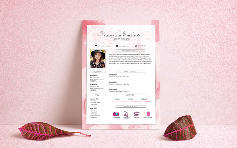 Free-Resume-(CV)-Design-Template-For-Fashion-Designer-PSD-File