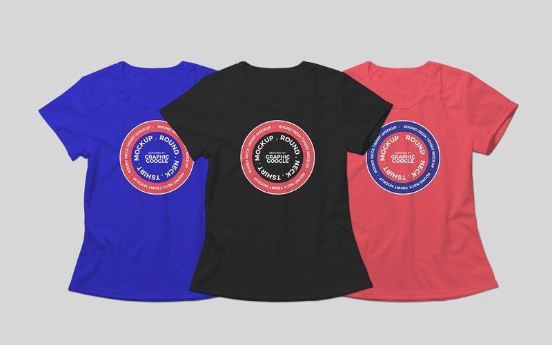 Free-Round-Neck-T-shirt-Mockup