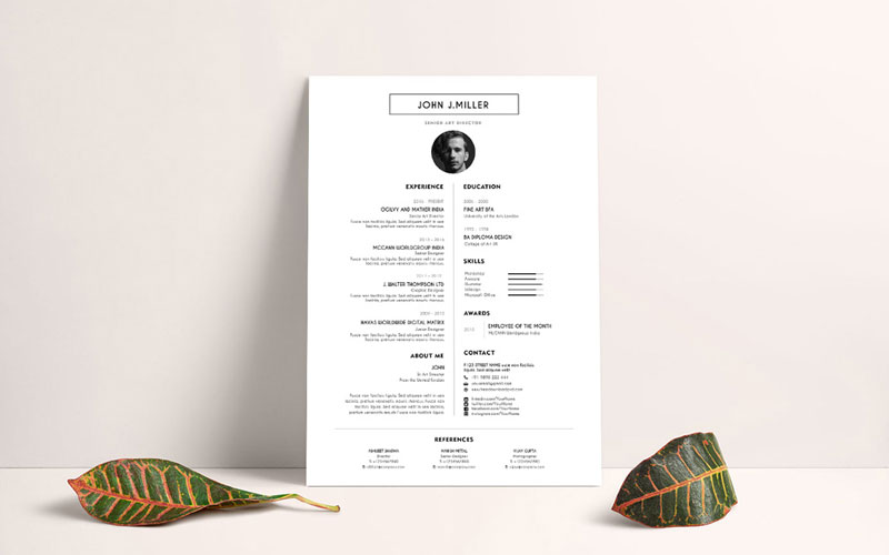 Free-Simple-&-Minimal-Layout-Resume-(CV)-Design-Template-PSD-File