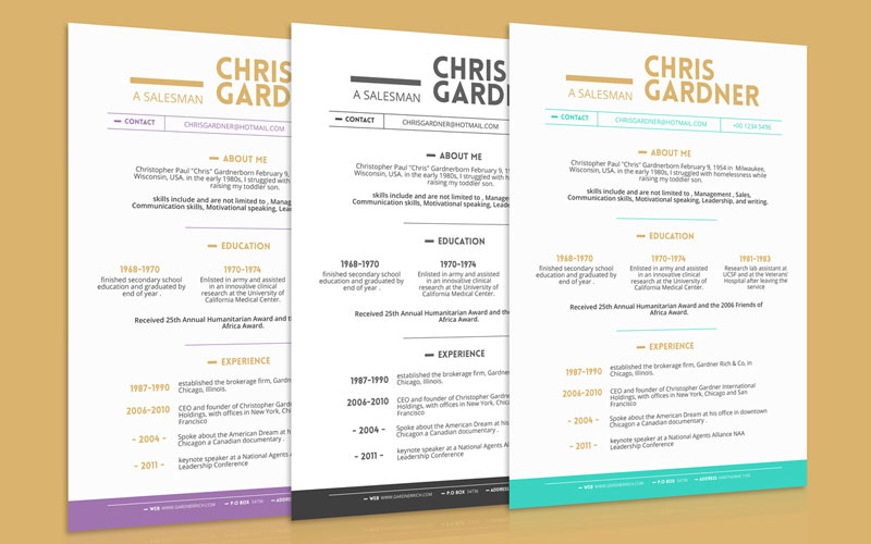Free-Simple-Resume-(CV)-Design-Template-With-Business-Card-PSD-&-PPT-Files-Available-In-3-Colors