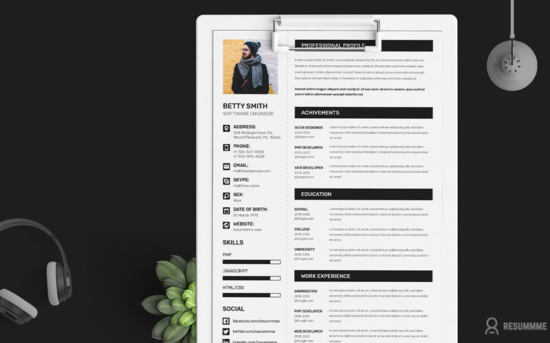 Free-Simple-Resume-(CV)-Design-Template-With-Cover-Letter-&-Portfolio-Ai-File