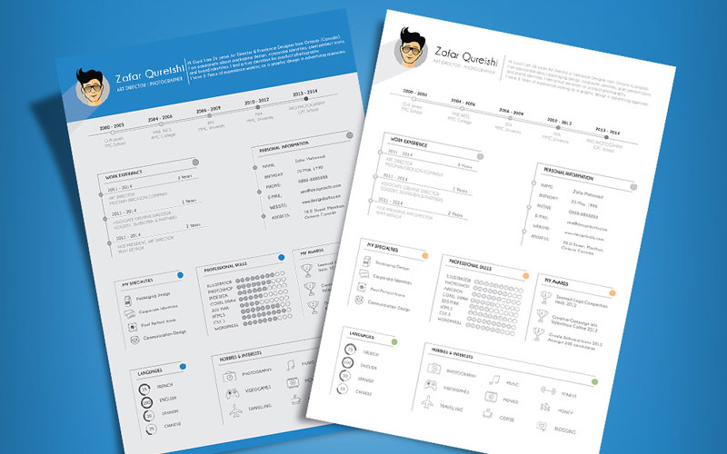 Free-Simple-Resume-(CV)-Template-Design-For-Art-Director-&-Photographer-Ai-File