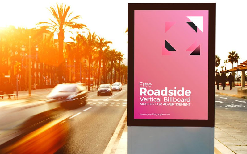 Free-Sunny-roadside-Advertising-Billoard-Mockup