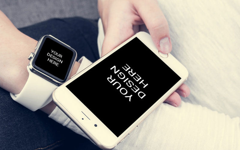 iPhone-With-Smartwatch-Mockup