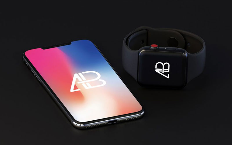 iPhone-X-with-Apple-Watch-(Series-3)-Mockup