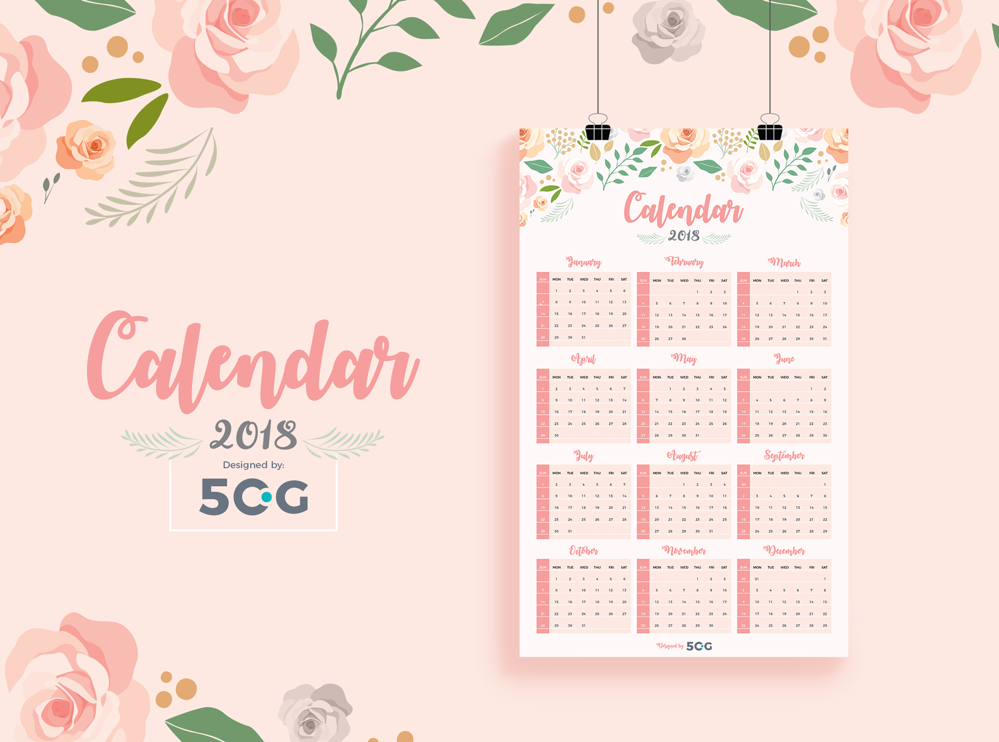 Free-One-Page-2018-Wall-Calendar-Design-Template