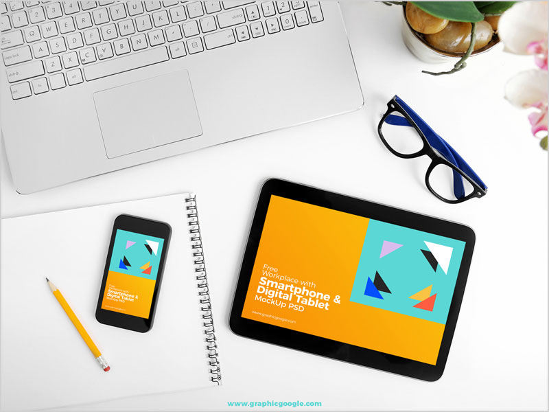 Free-Workplace-With-Smartphone-&-Digital-Tablet-Mock-Up-PSD