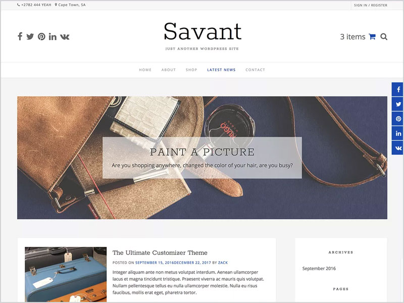 Savant-Free-WP-Theme