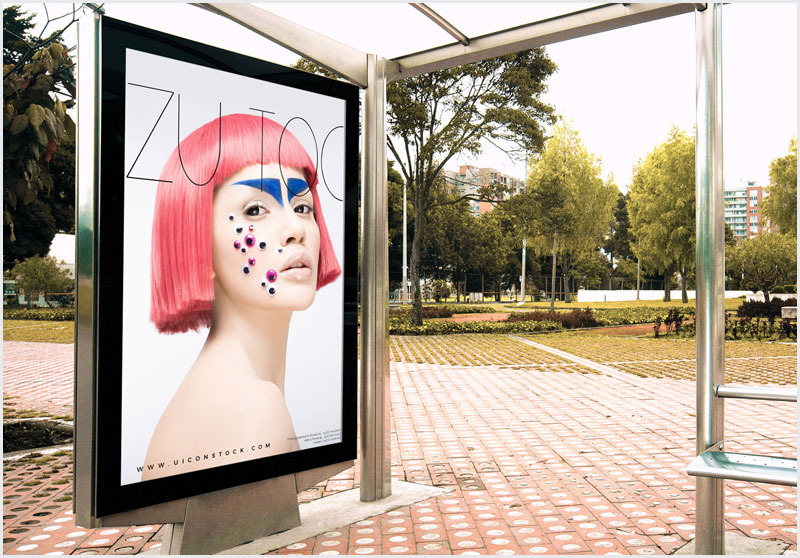 Free-Outdoor-Branding-Bus-Stop-Billboard-Mockup-PSD-2018