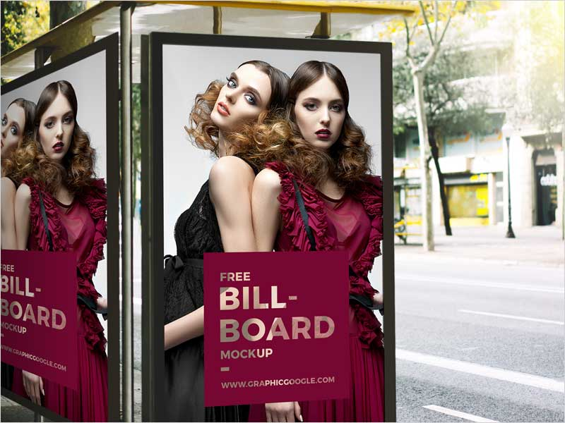 Free-Outdoor-Bus-Stop-Advertisement-Billboard-Mockup-2018
