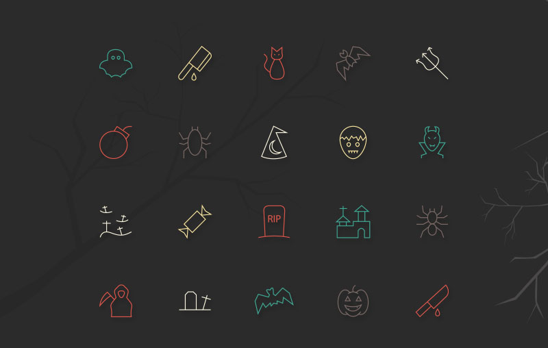 Free-20-Halloween-Vector-Line-Icons