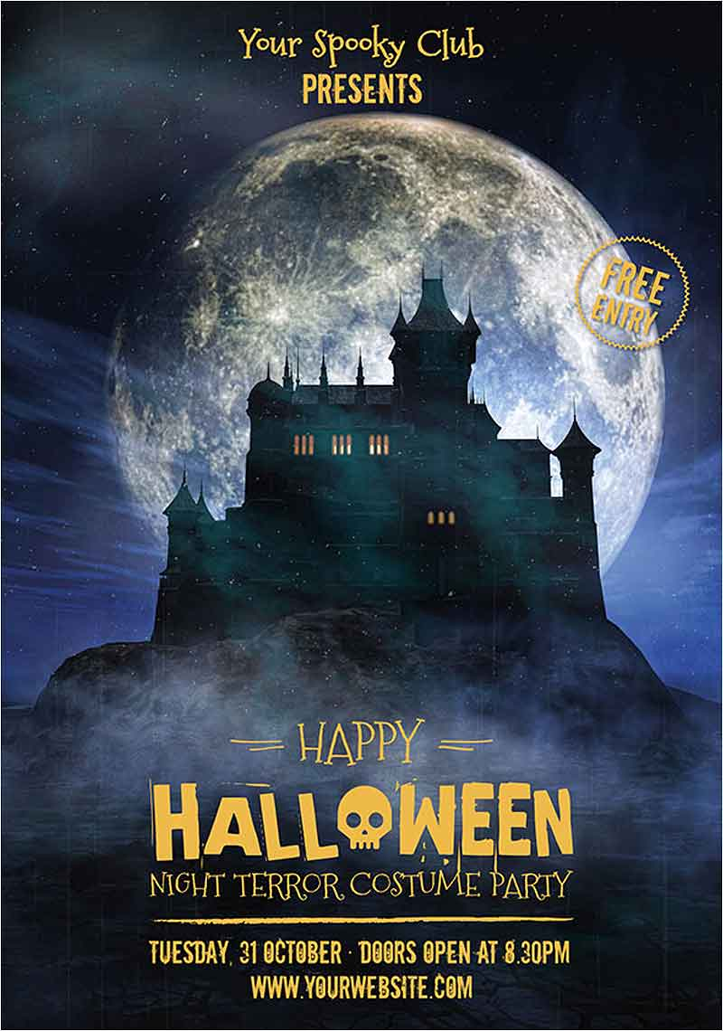 Free-Vector-Halloween-party-poster