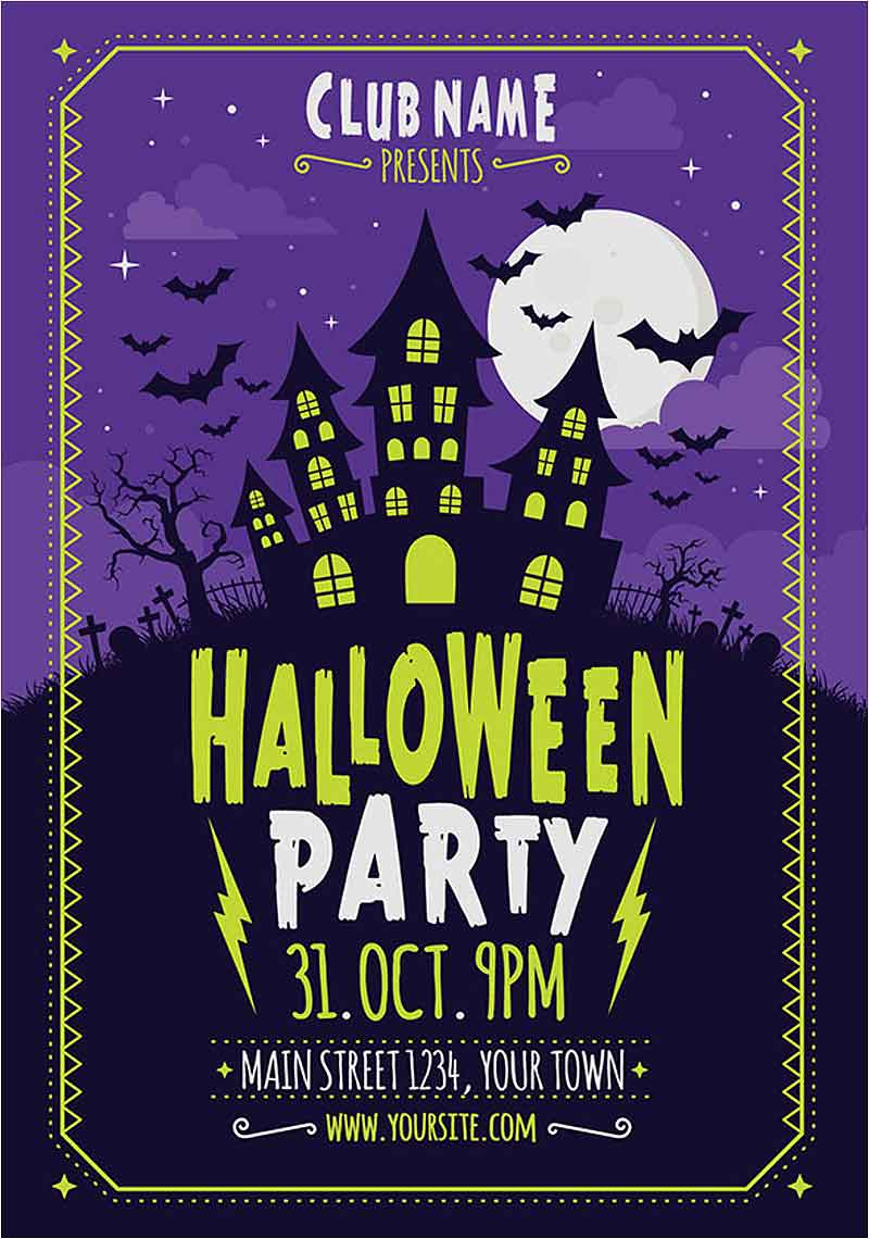 Free-Vector-Halloween-poster-with-creepy-house