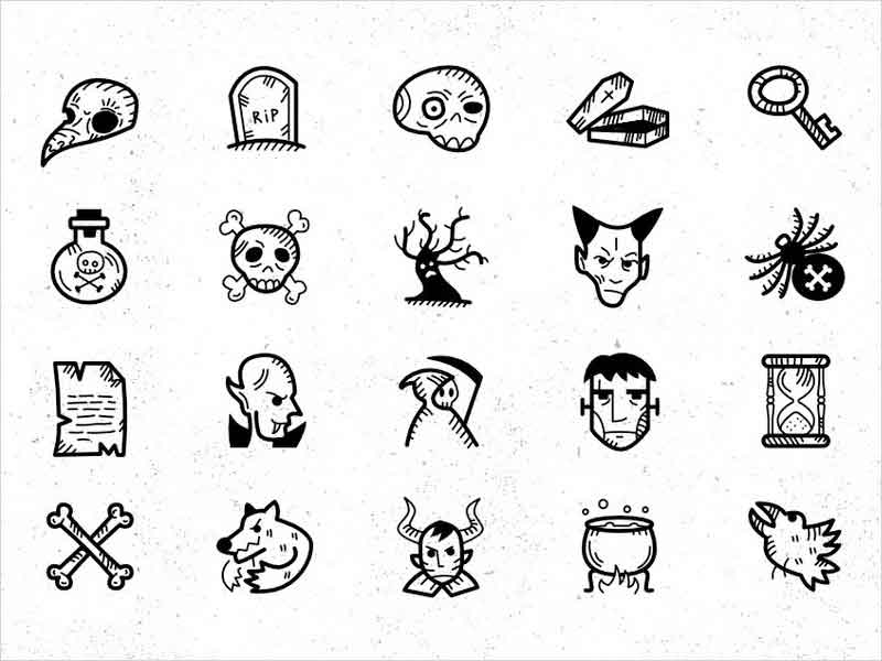 Halloween-Handdrawn-Icon-Set