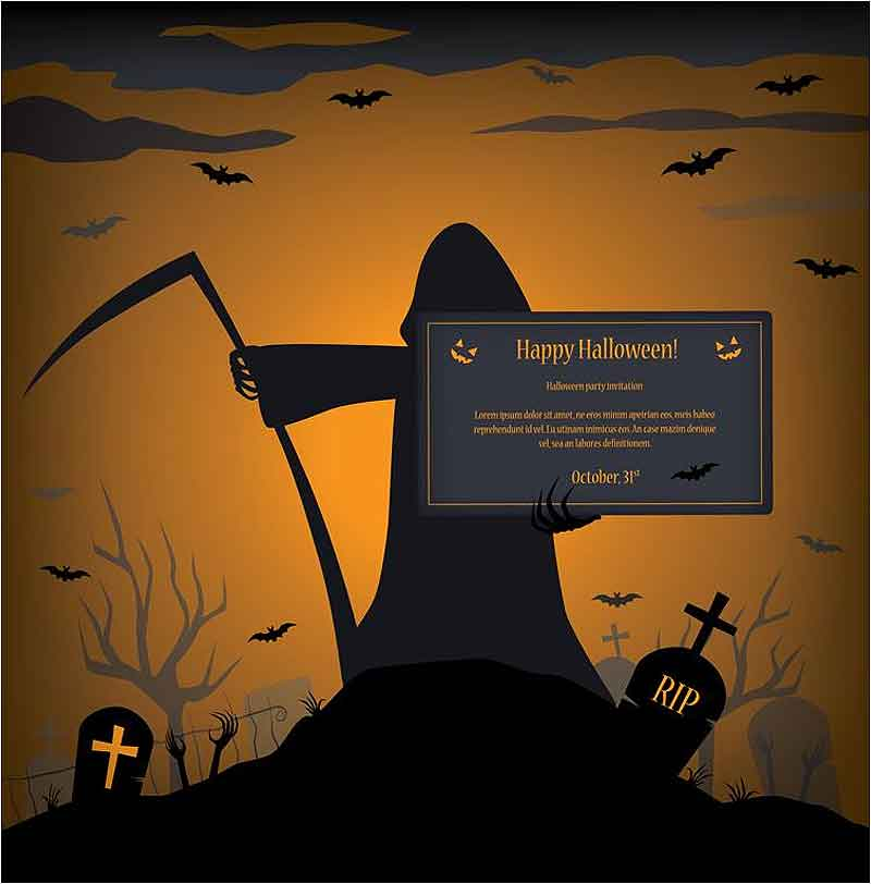 Happy-Halloween-Party-Invitation-Design-Vector