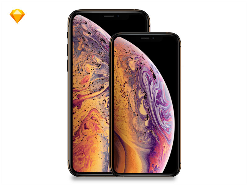 Apple-iPhone-Xs,-iPhoneXsMax-MockUp-free-Sketch