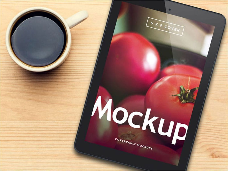 Black-Tablet-And-Coffee-PSD-Mockup