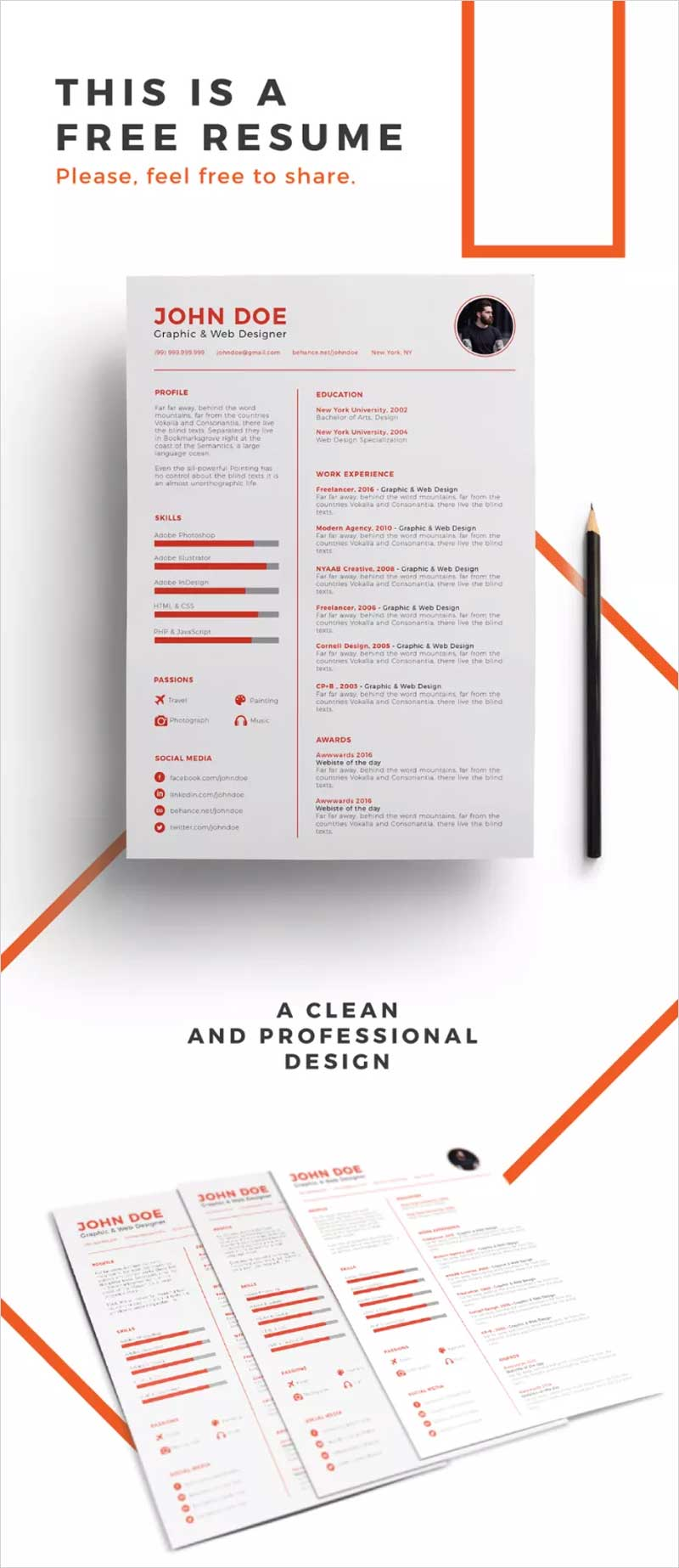 Clean-Design-Free-Resume-Template
