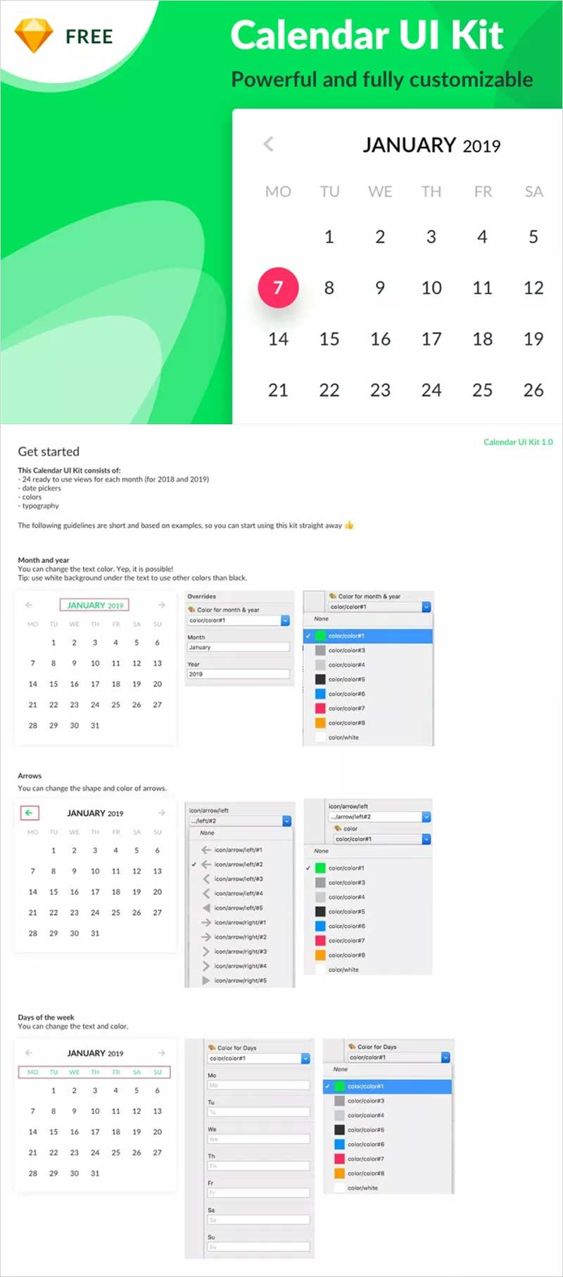 Free-Calendar-Sketch-UI-Kit