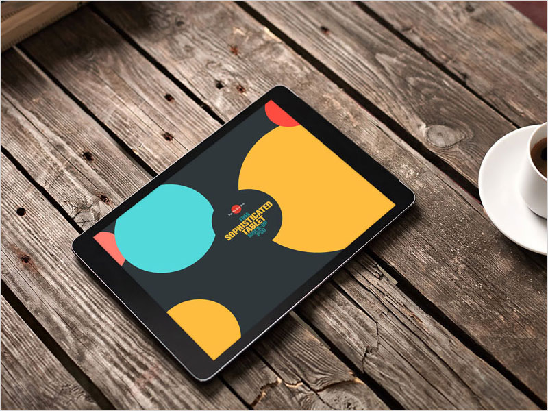 Free-Sophisticated-Tablet-Mock-up-on-Wooden-Background