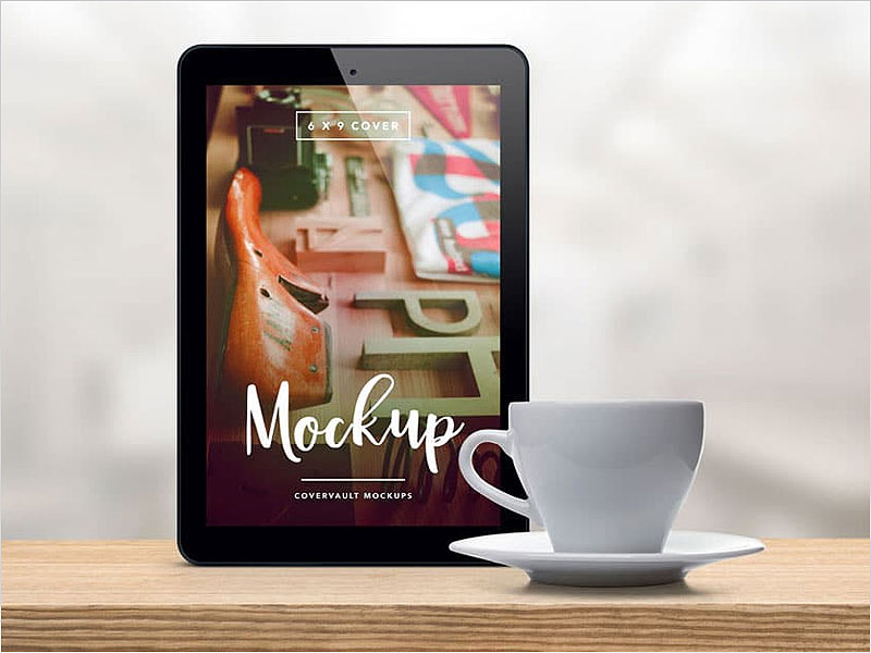 Upright-Tablet-with-Coffee-Cup-PSD-Mockup