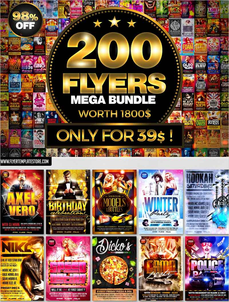 200-Flyer-Templates-Bundle-98%-OFF