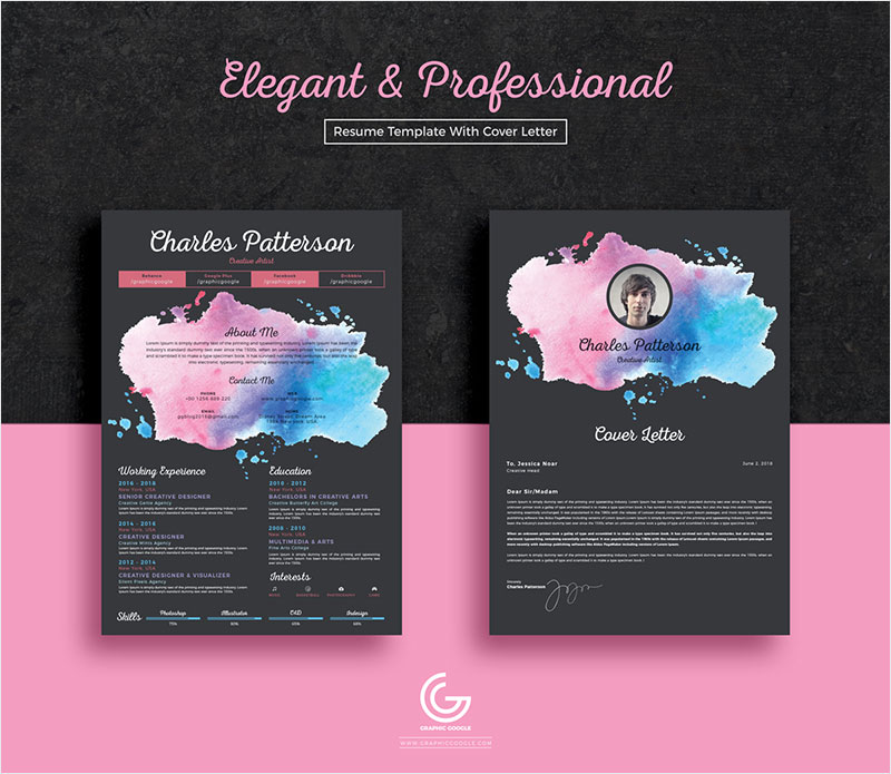 Free-Elegant-&-Professional-Resume-CV-Template-With-Cover-Letter