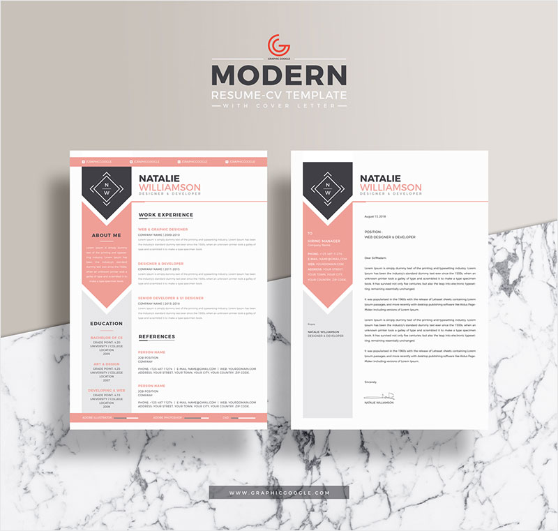 Free-Modern-Resume-CV-Template-For-Designers-and-Developers-With-Cover-Letter