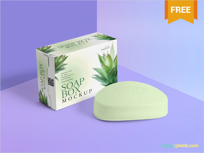 Free-Packaging-Box-and-Soap-Mockup