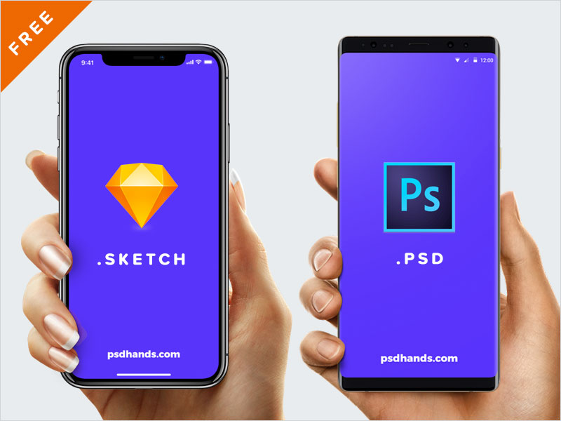 Hand-with-iPhone-X,-8,-Android,-Free-Mockup-PSD,SKETCH