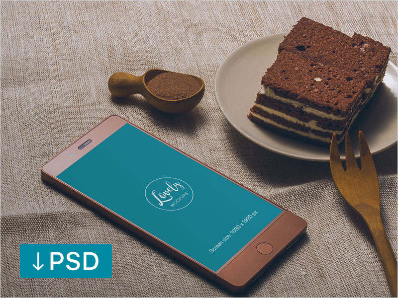 Smartphone-And-Cake-On-a-Table