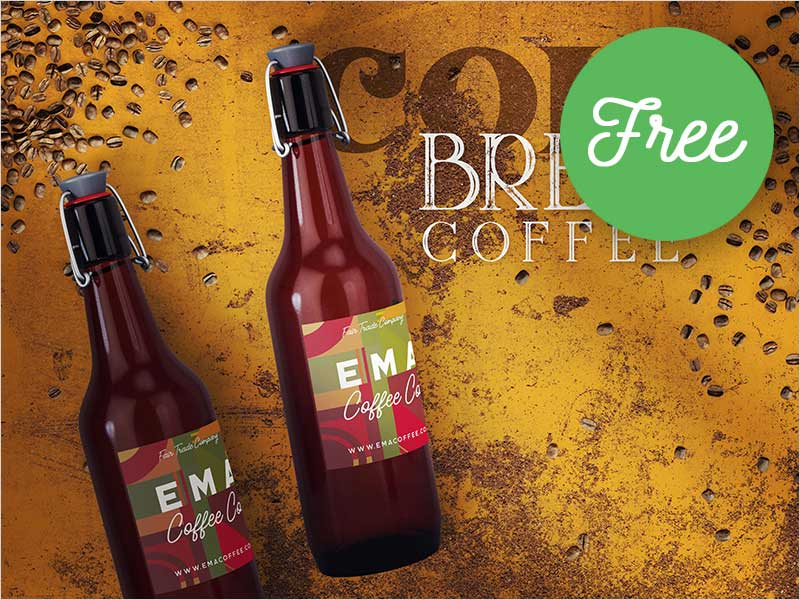Free-Bottle-&-Coffee-Mockup